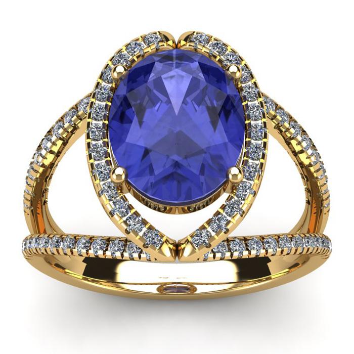 3 Carat Oval Shape Tanzanite & Halo Diamond Ring in 14K Yellow Gold (5.3 g), I/J by SuperJeweler