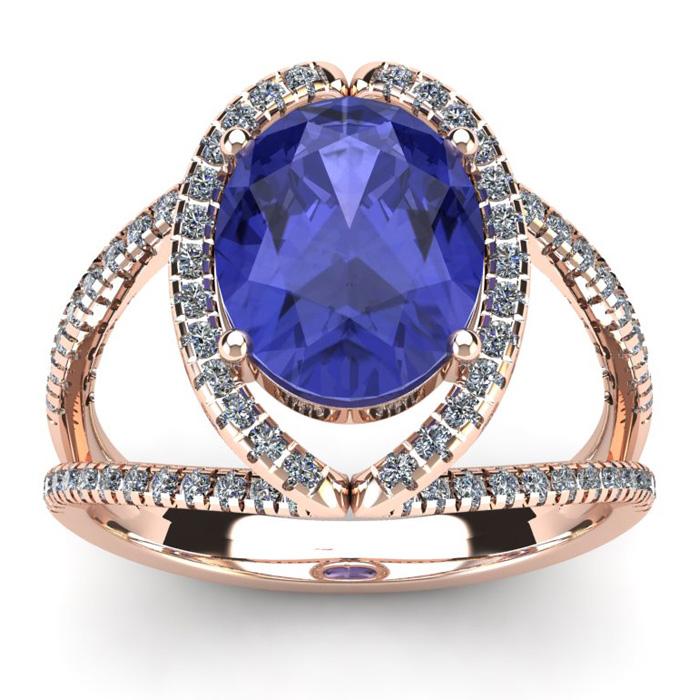 3 Carat Oval Shape Tanzanite & Halo Diamond Ring in 14K Rose Gold