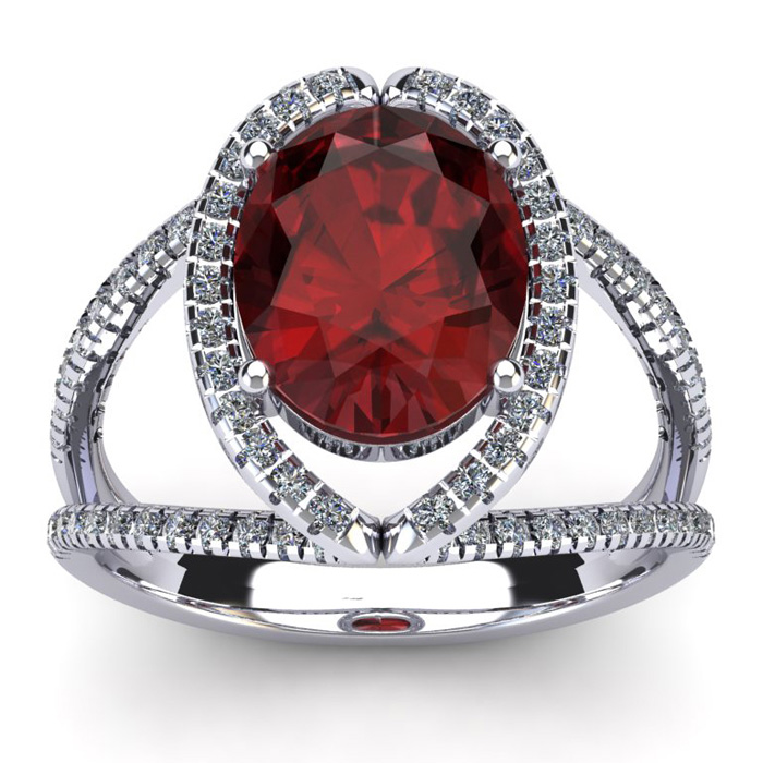 3 1/2 Carat Oval Shape Garnet and Halo Diamond Ring In 14 Karat White Gold