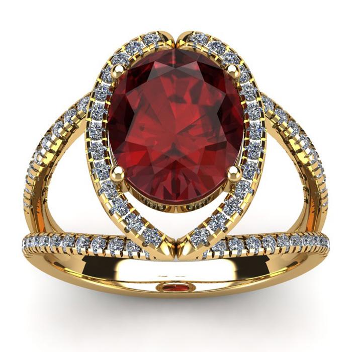 3 1/2 Carat Oval Shape Garnet & Halo Diamond Ring in 14K Yellow G