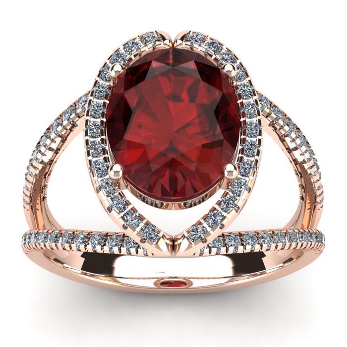 3 1/2 Carat Oval Shape Garnet & Halo Diamond Ring in 14K Rose Gol