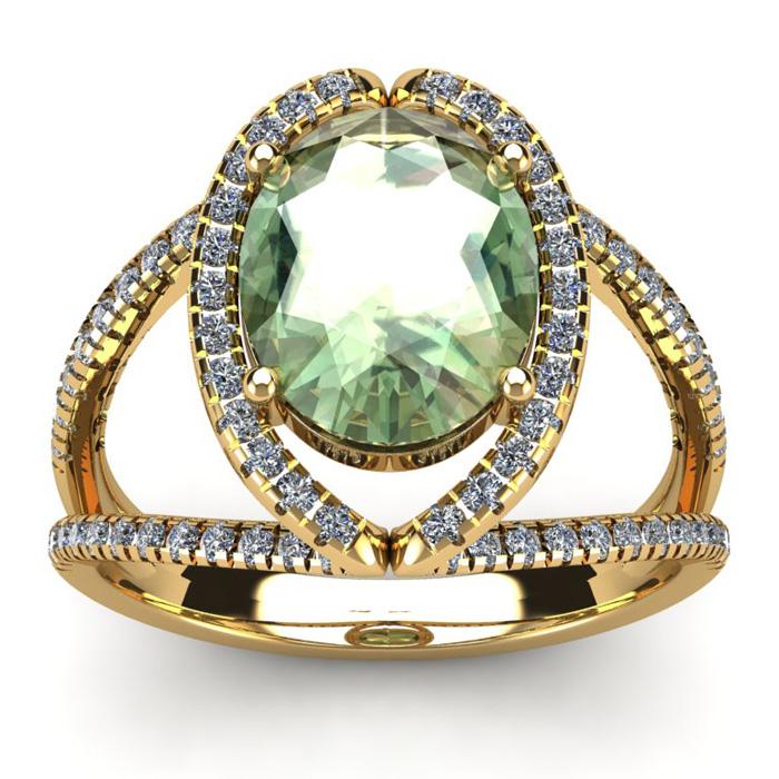 3 Carat Oval Shape Green Amethyst & Halo Diamond Ring in 14K Yell