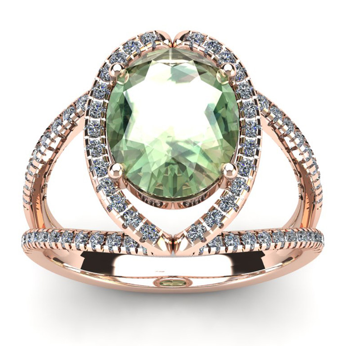 3 Carat Oval Shape Green Amethyst & Halo Diamond Ring in 14K Rose Gold (5.3 g), I/J by SuperJeweler