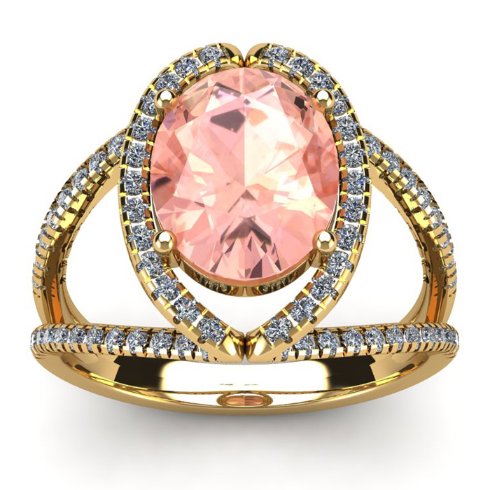 2 3/4 Carat Oval Shape Morganite & Halo Diamond Ring in 14K Yello