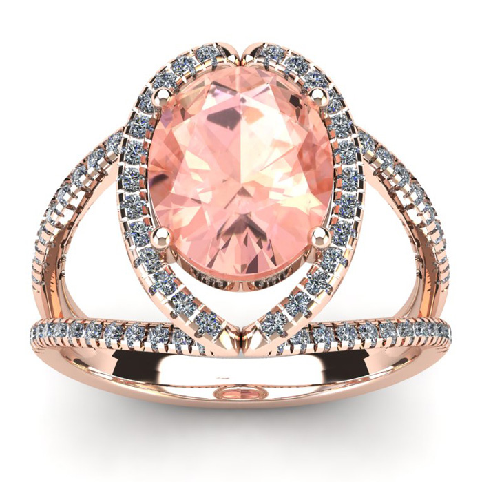 2 3/4 Carat Oval Shape Morganite & Halo Diamond Ring in 14K Rose Gold (5.3 g), I/J by SuperJeweler