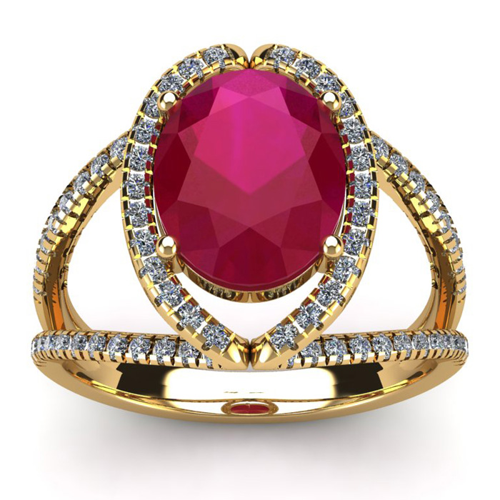 3 1/2 Carat Oval Shape Ruby & Halo Diamond Ring in 14K Yellow Gold (5.3 g), I/J by SuperJeweler