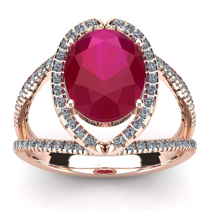 3 1/2 Carat Oval Shape Ruby & Halo Diamond Ring in 14K Rose Gold (5.3 g), I/J by SuperJeweler