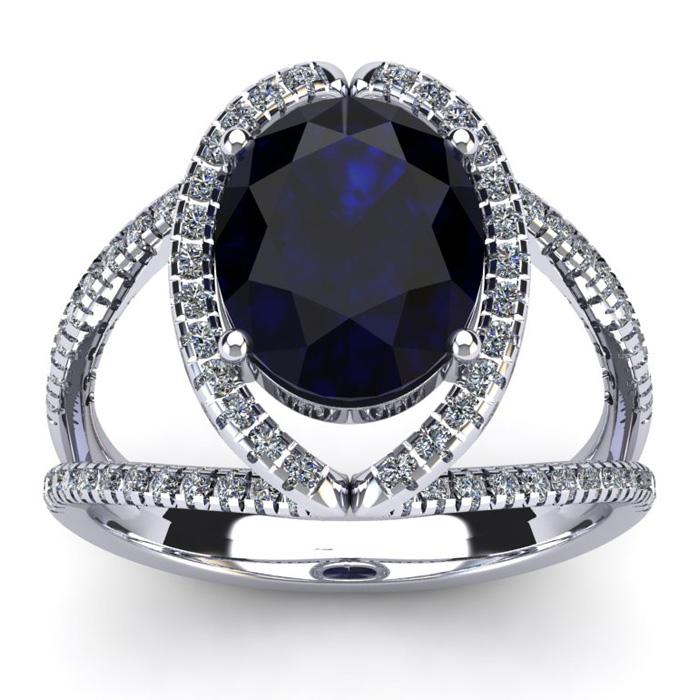 3 1/2 Carat Oval Shape Sapphire & Halo Diamond Ring in 14K White