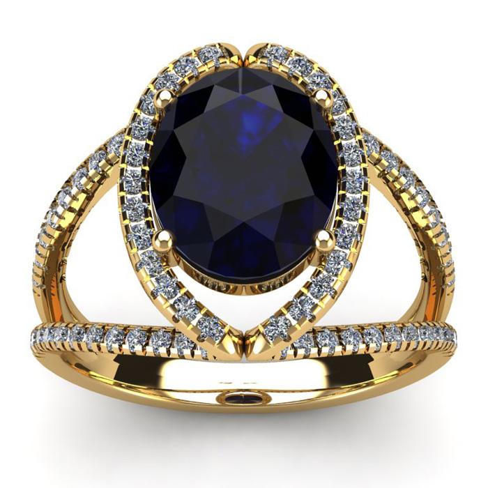 3 1/2 Carat Oval Shape Sapphire & Halo Diamond Ring in 14K Yellow