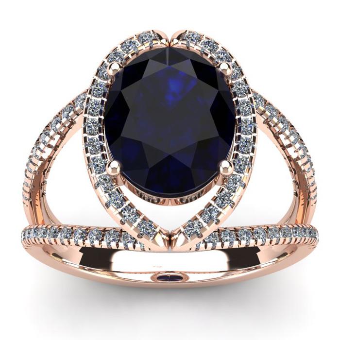 3 1/2 Carat Oval Shape Sapphire & Halo Diamond Ring in 14K Rose G