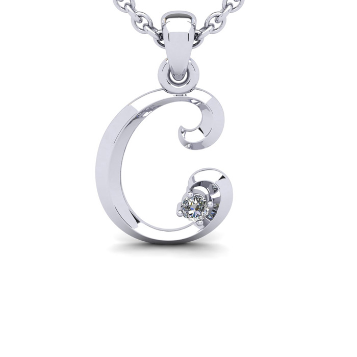 Diamond Accent C Swirly Initial Necklace in White Gold (1.8 g) w/