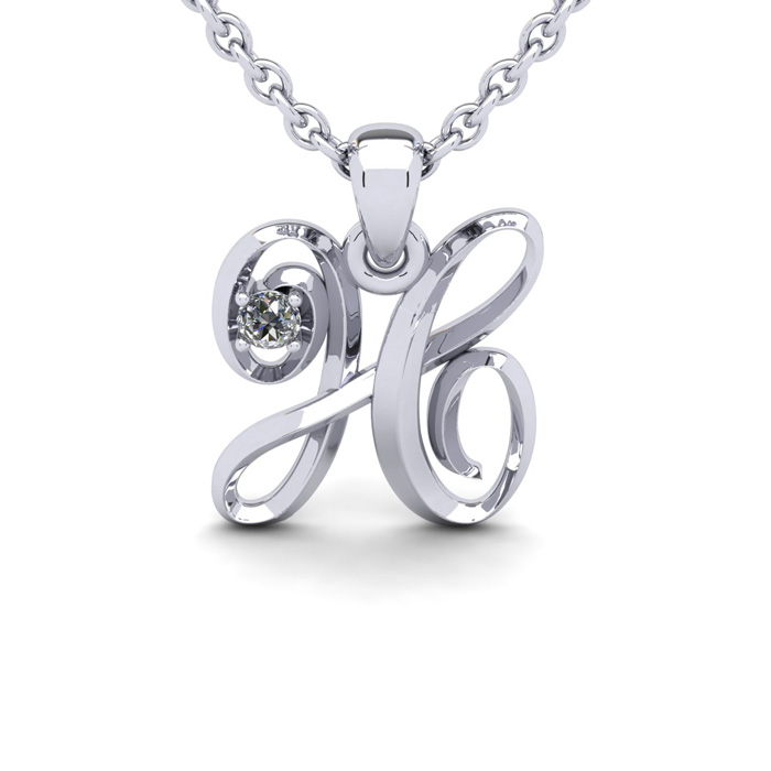 Diamond Accent H Swirly Initial Necklace in White Gold (1.8 g) w/