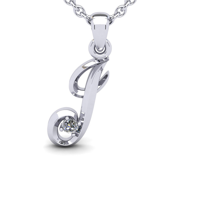 Diamond Accent J Swirly Initial Necklace in White Gold (1.8 g) w/