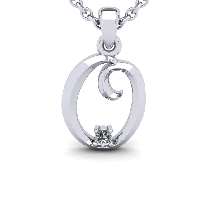 Diamond Accent O Swirly Initial Necklace in White Gold (1.8 g) w/
