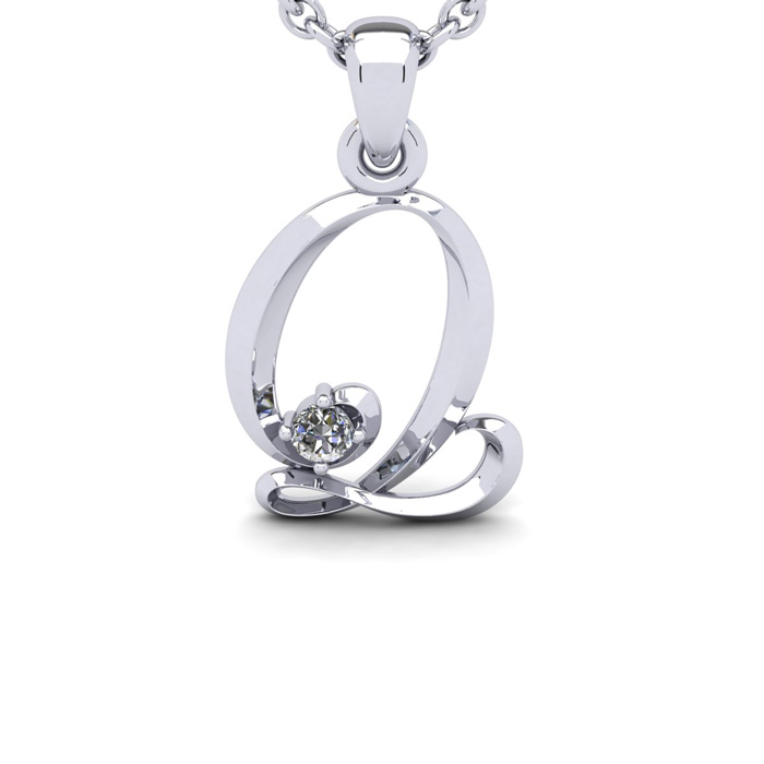 Diamond Accent Q Swirly Initial Necklace in White Gold (1.8 g) w/