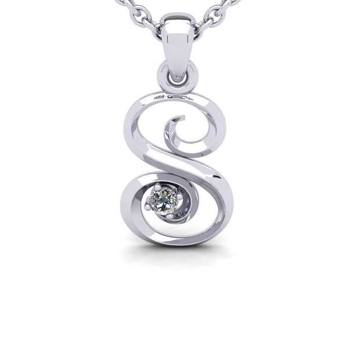 Diamond Accent S Swirly Initial Necklace in White Gold (1.8 g) w/