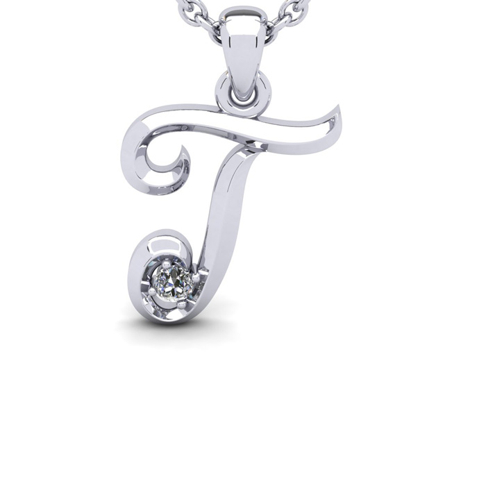 Diamond Accent T Swirly Initial Necklace in White Gold (1.8 g) w/