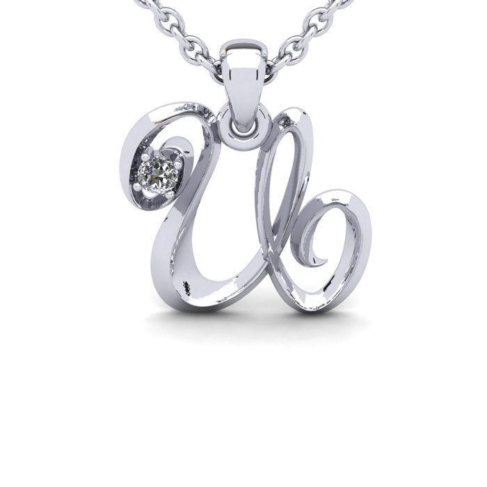 Diamond Accent U Swirly Initial Necklace in White Gold (1.8 g) w/