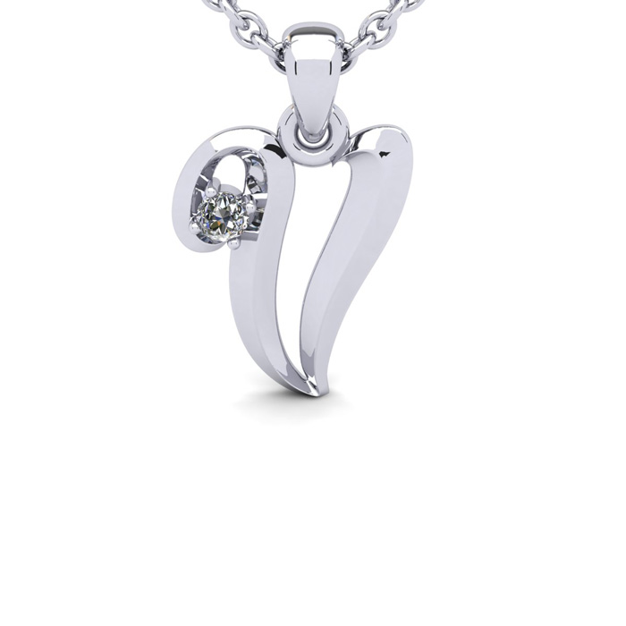 Diamond Accent V Swirly Initial Necklace in White Gold (1.8 g) w/