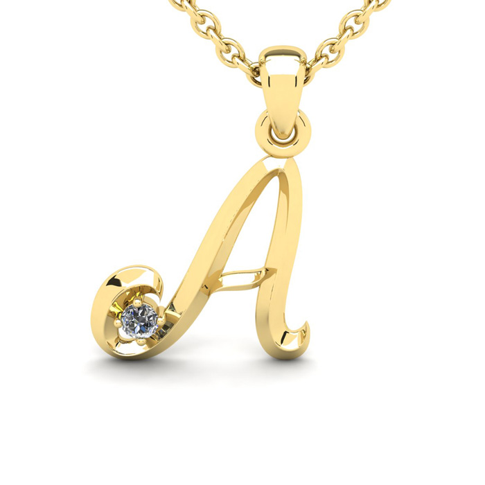 Diamond Accent A Swirly Initial Necklace in Yellow Gold (1.8 g) w