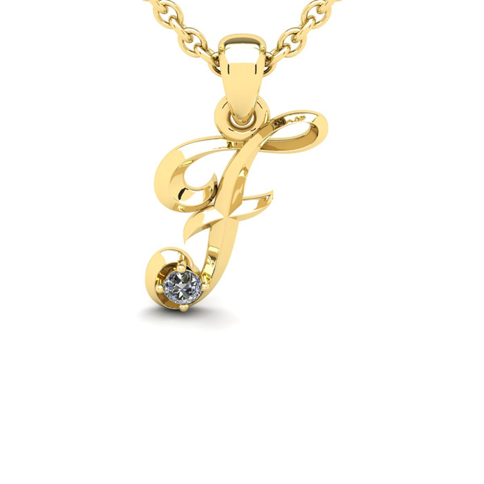 Diamond Accent F Swirly Initial Necklace in Yellow Gold (1.8 g) w