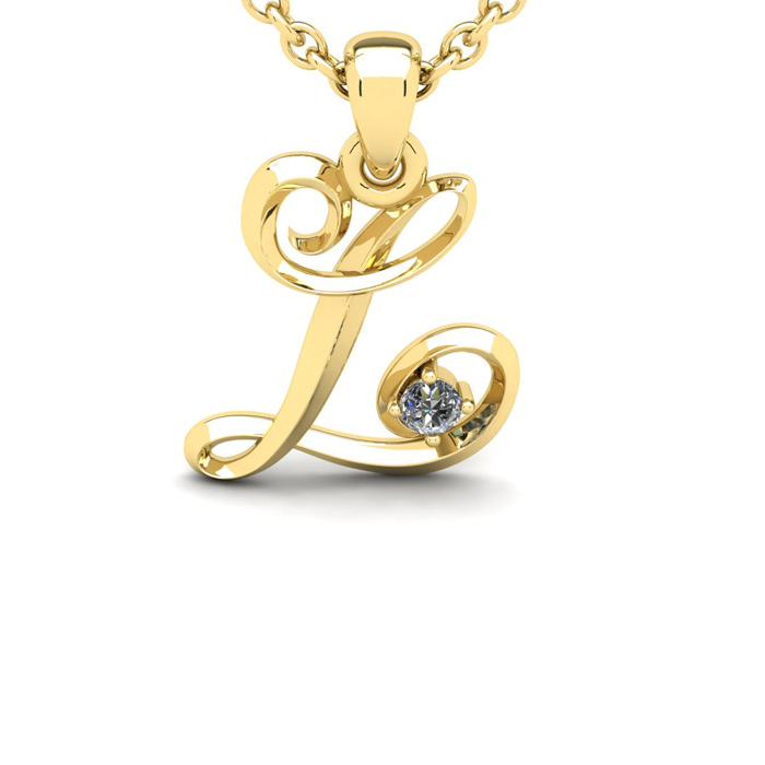 Diamond Accent L Swirly Initial Necklace in Yellow Gold (1.8 g) w