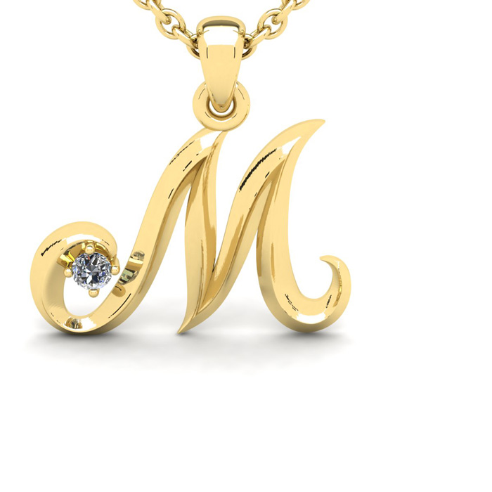 Diamond Accent M Swirly Initial Necklace in Yellow Gold (1.8 g) w