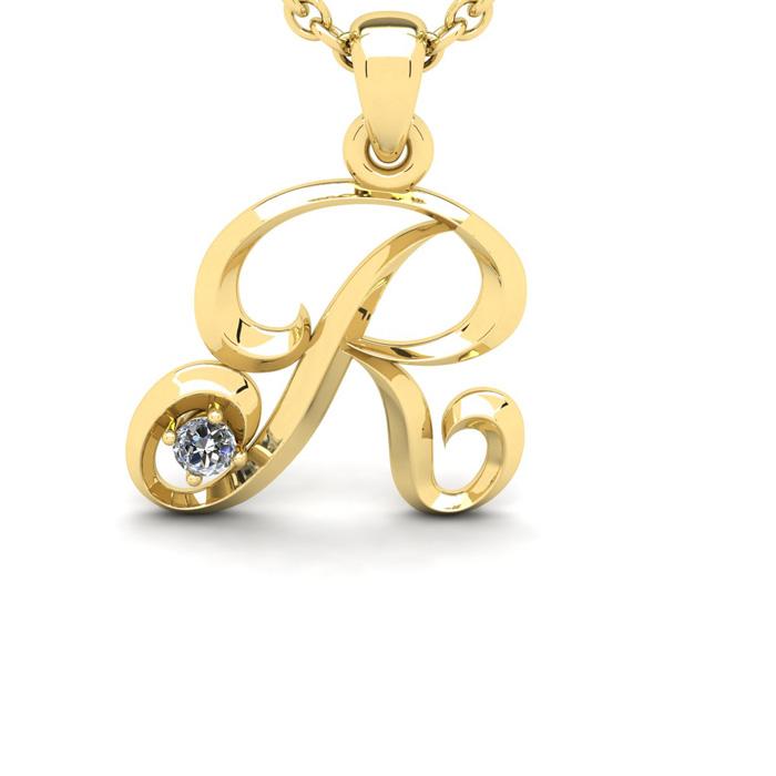 Diamond Accent R Swirly Initial Necklace in Yellow Gold (1.8 g) w