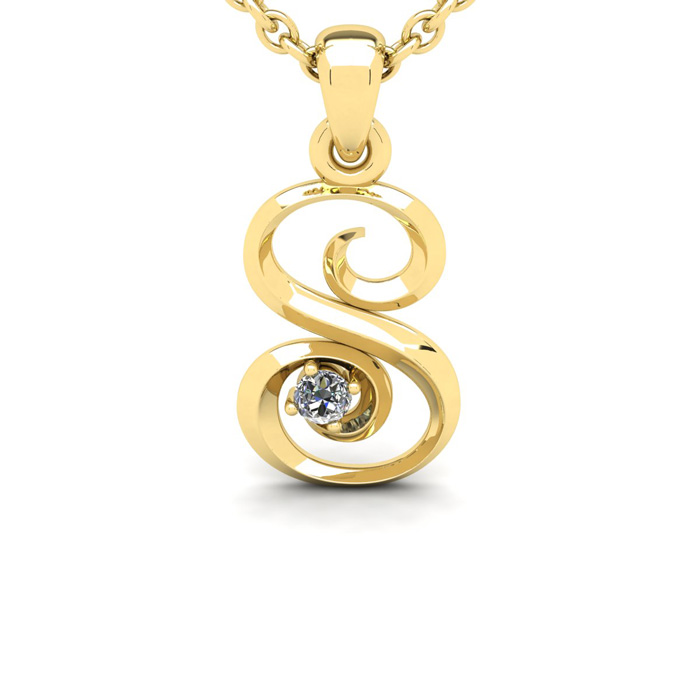 Diamond Accent S Swirly Initial Necklace in Yellow Gold (1.8 g) w