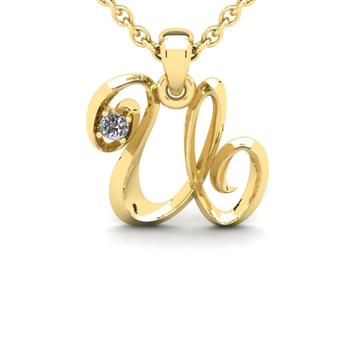 Diamond Accent U Swirly Initial Necklace in Yellow Gold (1.8 g) w/ Free 18 Inch Cable Chain, I/J by SuperJeweler