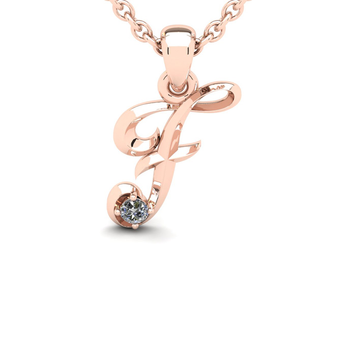 Diamond Accent F Swirly Initial Necklace in Rose Gold (1.8 g) w/