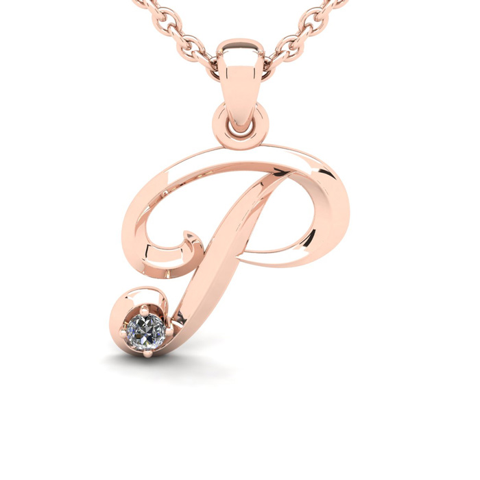 Diamond Accent P Swirly Initial Necklace in Rose Gold (1.8 g) w/
