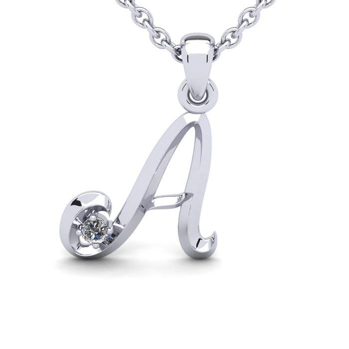 Diamond Accent A Swirly Initial Necklace in 14K White Gold (2 g)