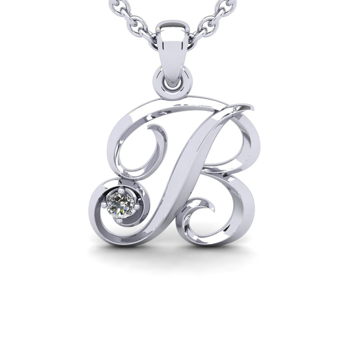 Diamond Accent B Swirly Initial Necklace In 14K White Gold With Free 18 Inch Cable Chain