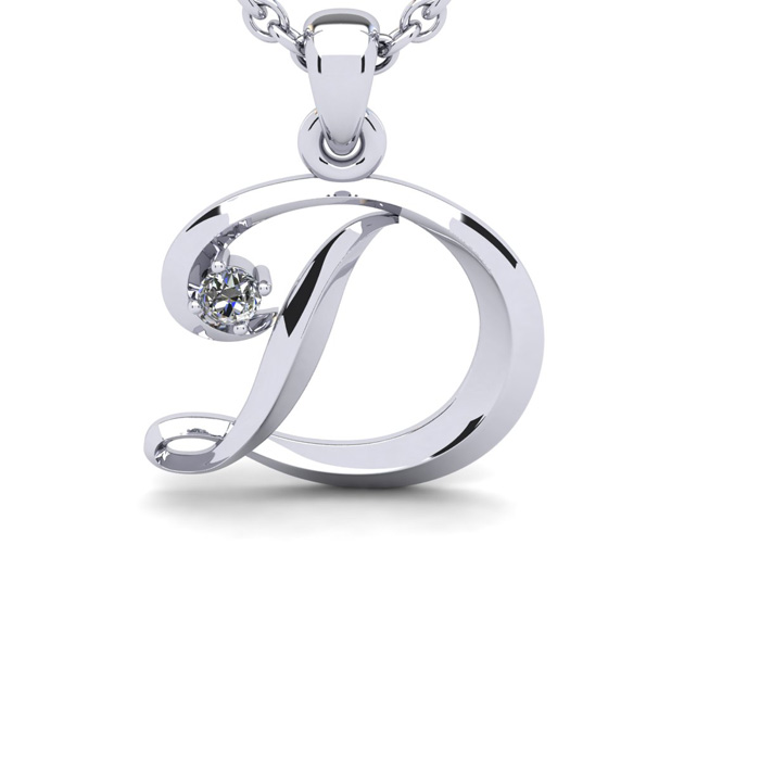 Diamond Accent D Swirly Initial Necklace in 14K White Gold (2 g)
