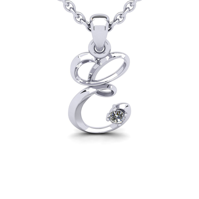 Diamond Accent E Swirly Initial Necklace In 14K White Gold With Free 18 Inch Cable Chain