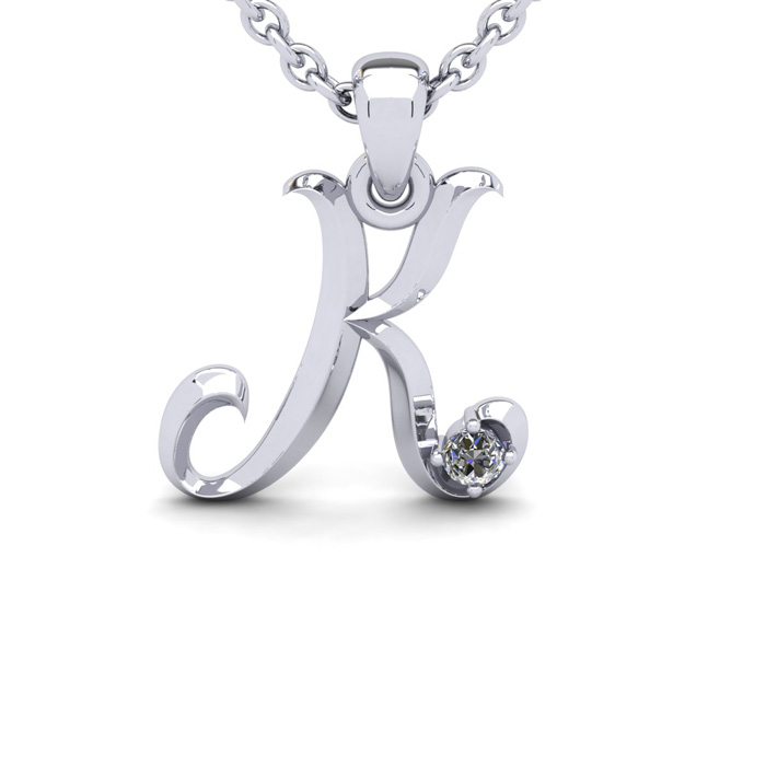 Diamond Accent K Swirly Initial Necklace In 14K White Gold With Free 18 Inch Cable Chain