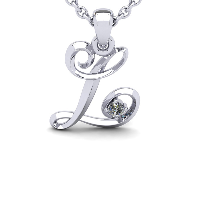 Diamond Accent L Swirly Initial Necklace In 14K White Gold With Free 18 Inch Cable Chain