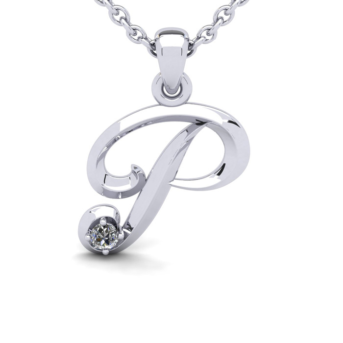 Diamond Accent P Swirly Initial Necklace in 14K White Gold (2 g)