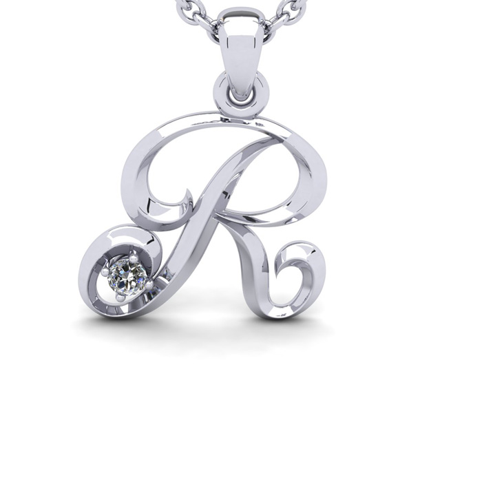 Diamond Accent R Swirly Initial Necklace In 14K White Gold With Free 18 Inch Cable Chain