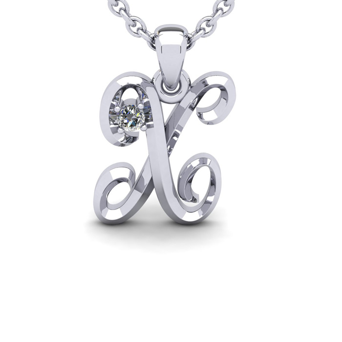 Diamond Accent X Swirly Initial Necklace in 14K White Gold (2 g)