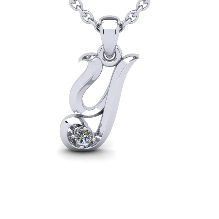 Diamond Accent Y Swirly Initial Necklace in 14K White Gold (2 g)