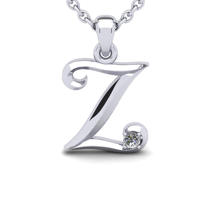 Diamond Accent Z Swirly Initial Necklace in 14K White Gold (2 g) w/ Free 18 Inch Cable Chain, I/J by SuperJeweler