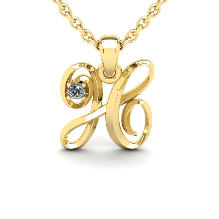 Diamond Accent H Swirly Initial Necklace in 14K Yellow Gold (2 g)
