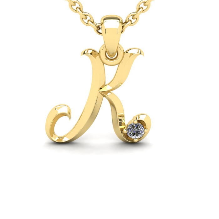 Diamond Accent K Swirly Initial Necklace In 14K Yellow Gold With Free 18 Inch Cable Chain