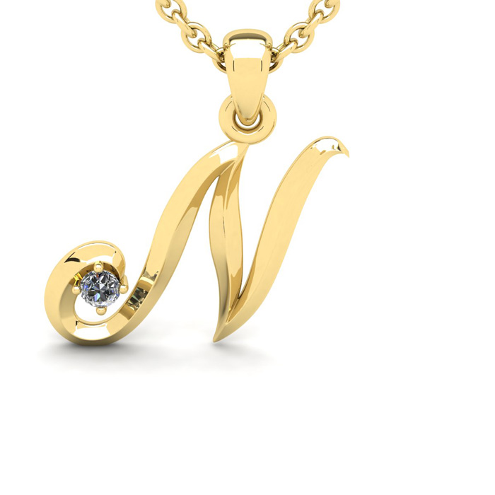 Diamond Accent N Swirly Initial Necklace in 14K Yellow Gold (2 g) w/ Free 18 Inch Cable Chain, I/J by SuperJeweler