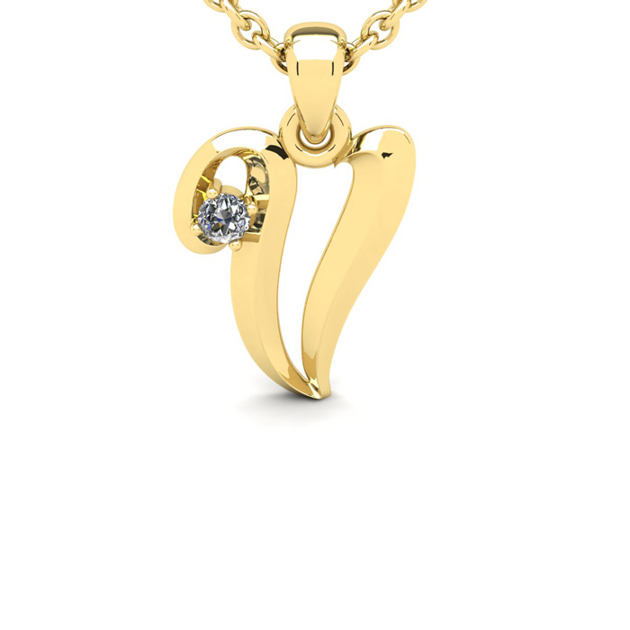 Diamond Accent V Swirly Initial Necklace in 14K Yellow Gold (2 g)