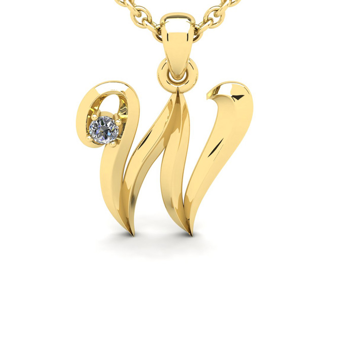 Diamond Accent W Swirly Initial Necklace in 14K Yellow Gold (2 g)