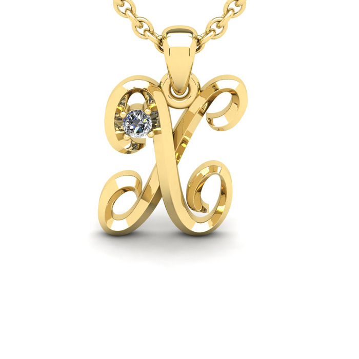 Diamond Accent X Swirly Initial Necklace in 14K Yellow Gold (2 g)