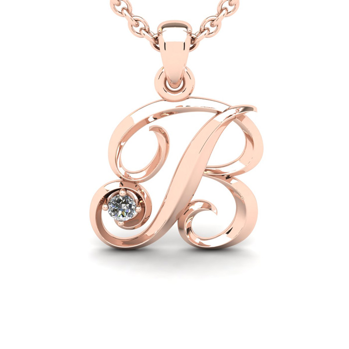Diamond Accent B Swirly Initial Necklace in 14K Rose Gold (2 g) w